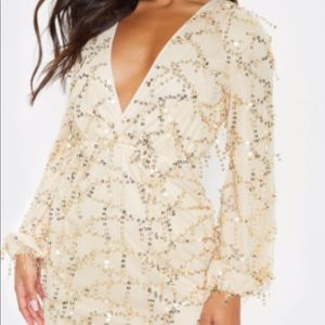 PLT Gold Plunge Sequin long sleeve body con
